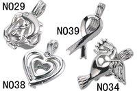 achat en gros de perles de coeur gros-10 pièces Grossiste Love Pearl Pendentif Cage Différents Designs Dolphin Peace Dove Coeur Rêves Wish Cages Bijoux
