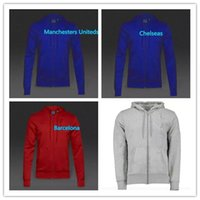 Wholesale Running Manchesters jackets long sleeve jerseys Sports jacket Uniteds men red blue Training suit ET