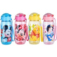 Wholesale HOT SALE Disne Minnie Mickey Mouse Kids Drinking Bottle Folding Straw School Childrens Cup Sipper Bottle Feeding Children Gift