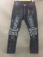 Men angeles jeans - NEW EARLY SRPING BIKER DENIM JEANS MEN LOS ANGELES STREET FASHION AMIRI BLACK JEANS SLIM SKINNY PANTS SIZE