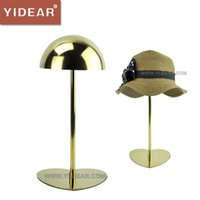 Wholesale Yidear stainless steel polish gold hat stand display hat rack adjustable metal cap stand holder rack
