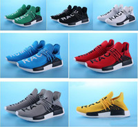 Mesh outdoor racing - 2017 Pharrell Williams NMD HUMAN RACE In Yellow red black blue grey green white men women Fashion Sport sneakers running Shoes eur