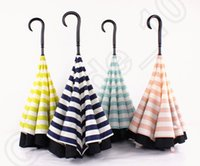 Wholesale Navy Stripe Inverted Umbrellas C shape J shape Handle Waterproof Double Layer Reverse Car Umbrella Paraguas Rain Umbrella OOA909