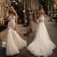 Wholesale Berta Beach Mermaid Wedding Dresses Beaded Sash Back Zipper Vintage Champagne Lace Wedding Bridal Gowns Long Train Backless Plus Size