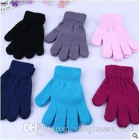 Wholesale 100pair LJJC2860 High Quality Kids Solid Color Knitted Finger Gloves Candy Colors Children Kid Knitted Gloves Full Finger Stretch Mittens