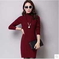 Wholesale Autumn and winter clothing sweater ladies knitted semi high collar sweater dress women s jacket cashmere sweater women in the long paragraph