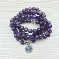 amethyst rosary bracelet - Fashion Amethyst Mala Om Buddha Bracelet or Necklace Reiki Charged Buddhist Rosary Yoga Bracelet Wrap Natural Stone Bracelet NS1147