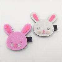 animal sweeties - Sweetie Bunny Head Hair Clips Pink Shy Rabbit Felt Hairpin Cute Fashion Cartoon Animal Hair Clips Girls Pretty Pretty Hair Grips