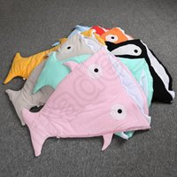 Wholesale Kids Shark Sleeping Bags INS Shark Shaped Infant Sleep Sack Newborn Baby Bed Blanket Swaddle Cartoon Blankets OOA1165