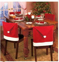 foot chair - Santa Clause Red Hat Christmas gift Chair Back Covers for Christmas Dinner Decor New Party Supply Favor Cloth Chairs Decorations