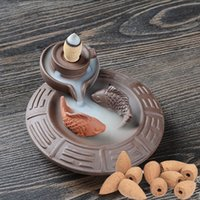 air fresheners - Multifunction Air Fresheners Ceramic Incense Burner Censer Office Living Room Decoration Gift Incense Censer With Backflow Cone A0659