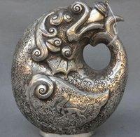 antique hip flask - Modern Art Sculpture Figurine quot Old Tibetan Silver Dragon Beast Lucky Statue Rice wine Pot Flagon Hip flask