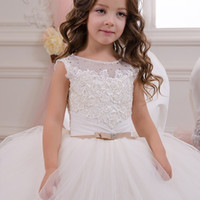 ball tributes - Elegant White Formal Flower Girl Dress Tribute Silk Tulle Tiered Wedding New year Ball Gowns Little Girl Evening Gowns