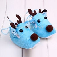 Wholesale Cute Blue Christmas Shoes - New Cute Warm Winter Baby Christmas Deer First Walker Shoes Sweet Antiskid Toddlers Shoes Baby Girls Infant Prewalker Toddler