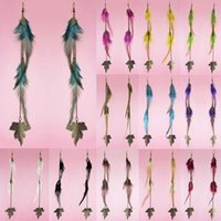 Wholesale Downy Feather Earrings Colors Leaf Long Chain Light Dangle Eardrop Hot Burgundy Deep Pink Yellow Green Black JF117