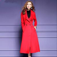 achat en gros de trench-coat en laine verte-Femmes Laine Trench Coat Femmes Haute Qualité Vert Rouge Noir Longue Manteaux Femmes Plus Taille Outwear Lady Girl Maxi Blends Manteau Vêtements Femmes