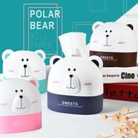 Precio de Organizadores de papel de escritorio-Lindo Bear Polar Bear Paper Holder Caja de almacenamiento de oso de dibujos animados Oficina en el hogar Escritorio de plástico caja de tejidos Contenedor de papel colgando Organizador