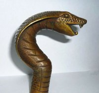 Wholesale ZSR Chinese Old Bronze Hand Carved Cobra Statue Cane Walking Stick Head