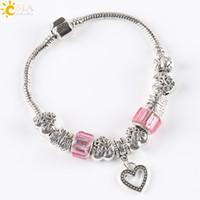 beaded friendship bracelets - CSJA Friendship Chain Women Pink Bangle Charm Bracelets Antique Silver Plate Love Heart Pendant Butterfly Beaded Jewelry E140