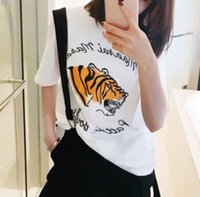 Wholesale Spring han edition printed loose white T shirt flat embroidery round collar shirt with short sleeves spring the new dress