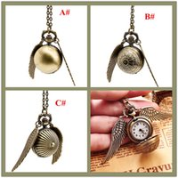 Wholesale 2017 Pocket Watch Retro Classic Necklace Harry Potter Gold Snitch Angel Wings Quidditch Contest Pocket Watch Sweater Necklace
