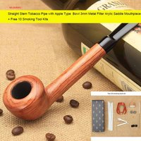 apple wood for smoking - Straight Stem Tobacco Pipe with Apple Type Bowl mm Metal Filter Arylic Saddle Mouthpiece Pipe for Masccline gift Free Smoking Tools Kit