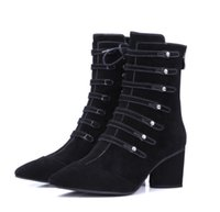 aa patches - New winter thick with genuine leather shoes riveting high heeled zipper fashion boots pointed skull patch Martin boots