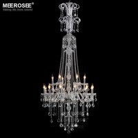 Wholesale Luxury Crystal Chandelier Light Fixture Clear Large Hotel Crystal Light Lustres Hanging Lamp Long Glass Crystal Chandelier Fast Shipping