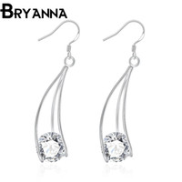 Wholesale Bryanna sterling silver dangle earrings for women Fashion Jewelry Wedding Gifts Cubic Zirconia CZ long drop earrings E2164