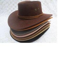 Wholesale Wide Brim Faux Leather cowboy hats men women western Hollywood Party Costume travel outdoor cowboy hat