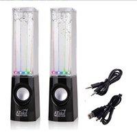 Wholesale A Pair Led USB Dancing Water Speaker Water Fountain Dancing Speaker Soundebox foe phone pc pad mp4 colors