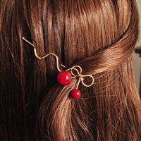 Wholesale Free shippinng Han edition Cherry red hairclip bowknot edge clip to headdress fashion girls clip hairpin