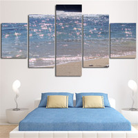 More Panel Digital printing Fashion 5Planes Wall Painting Home Decora Lancape Sea Beach Sparkling Waves Canvas Art Picture Poster For Living Room No Framed