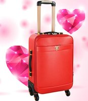 Wholesale 13 colors inch Red Caffee Blue Carry Ons PU Business Travel Suitcase Trolley Travel Bag On Wheels Boarding Luggage Tote Backpack