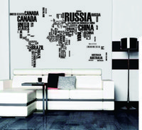 Wholesale Free delivery cm cm English letter stickers decorative painting world map background sofa wall stickers PVC