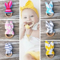 Wholesale Cute Baby Infant Teethers Teething Ring Soothers Wooden Teething Training Crinkle Material Inside Sensory Toy PPA782