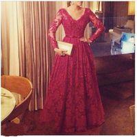 aline wedding dresses - 2017 V neck Aline Red Bridal Wedding Dresses New fairy long sleeves Custom Exquisite plus size Bridal Gowns bows floor length dress qw