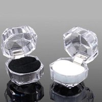 Wholesale Hot Jewelry Package Boxes Ring Holder Earring Display Box Acrylic Transparent Wedding Packaging Storage Box Cases