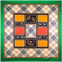 Cheap Wholesale-90cm*90cm British Geometry Grid style women silk satin large square scarf