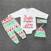 baby pants export - Daddy mommy Christmas Baby girls clothes romper pant hat headbands set Toddler clothing exported USA New arrival year