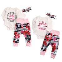 Wholesale Newborn Infant Baby Kids Girl Hello World Romper Floral Striped Pant Legging Outfit Set Clothes