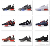 Wholesale Send With Original Box Fashion Sneakers NMD Running Shoes Runner Primeknit Men and Women Athletic Shoes All White City Sock Camo PK