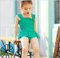 Wholesale Little Girls Clothing Kids One Piece Swimwear Summer New Polyester Solid Girl Swimwear Children Bathing Suit