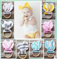 Wholesale Infant baby Teethers Teething Ring Environmental Wooden Teething Training Crinkle Material Inside Sensory Toy Natural teether bell v84