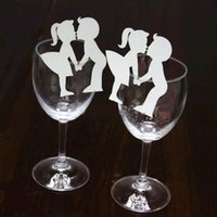 Wholesale Creative Lovers Couples Escort Liquor Fluid Wine Glass Paper Cards for Drinking Bar Wedding Party Festival Home Decoration