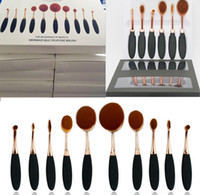 Wholesale 6 pieces HOT Ana Oval Makeup Brush Rose Gold Cosmetic Foundation BB Cream Powder Blush Makeup Tools DHL