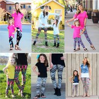 Wholesale Mother And Daughter Flowre Print Leggings Mom And Me Christmas Printed Elastic Fitness Leggings Xmas Pants children women tights