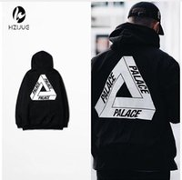 Wholesale cool yonth man lMens Palace Skateboards Hoodie Male yongth Triangle Sweat Palace Sweatshirt Palace Hoodies boy girl sweatshirts black white