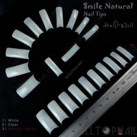 abs nail tips - Square Natural Salon Well less Nail Tips ABS Professional Smile French False Nails Half Cover U Tips for Nails