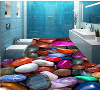 Wholesale Custom Photo self adhesive D floor Colorful D cobblestone floor Photo wallpaper mural floor Home Decoration
